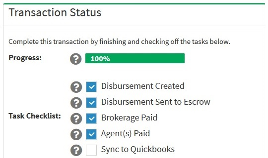 sync commission disbursements to Quickbooks